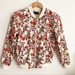 Love Tree Floral Print Bomber Jacket Multicolored